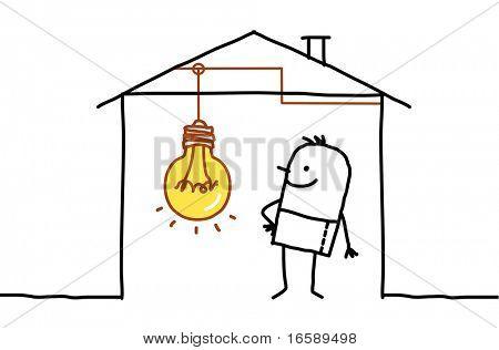 man in house & light bulb