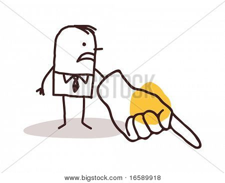 businessman  pointing finger down