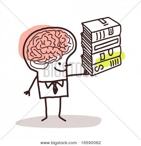 hombre con gran cerebro y libros