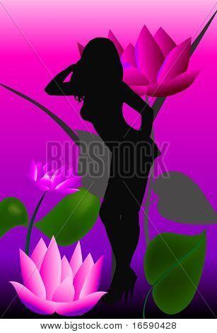 female silhouette & gigantic flowers