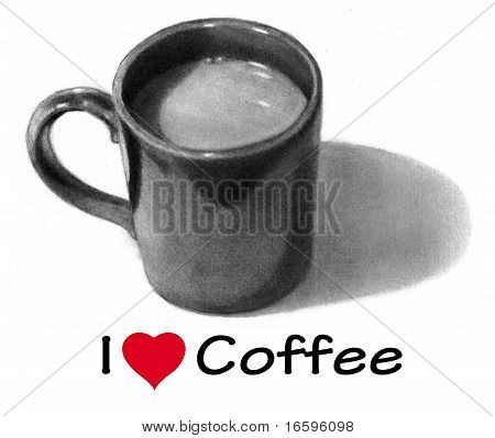 Coffee Mug in Pencil: I Love Coffee