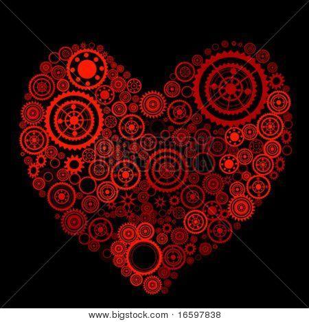 heart shape consist of gears