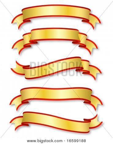 conjunto de cinco cintas de oro rizados, Ilustración
