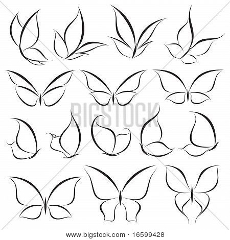 Butterflies. Vector Template Set. Elements For Design. Icon Set.