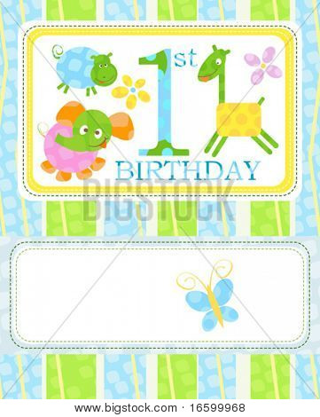 first birthday, cute little animals template