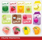 set of shiny fruits