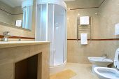pic of shower-cubicle  - Bathroom with a shower cubicle in hotel - JPG
