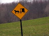 picture of mennonite  - Horse and Buggy Sign Locke NY 13092 Rt 90 - JPG