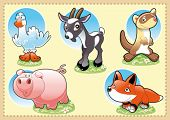 Farm Baby Animals. Funny cartoon and vector illustration.