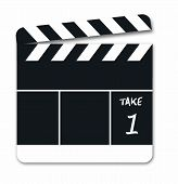 stock photo of clapper board  - clapper board illustration - JPG