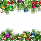 picture of christmas cards  - Christmas background with decorated branches of Christmas tree - JPG