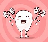 Vector Illustration Of Smile White Tooth Lifts Dumbbells On Pink Background. Fitness Cartoon Tooth, poster