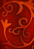 foto of old-fashioned  - Red Christmas background photo with floral and curly motives - JPG