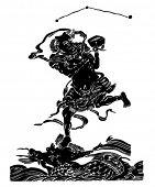 Постер, плакат: Вектор китайского традиционного художественного шаблона карта Kuixing ду Пойнт