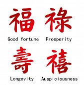 Four Chinese Characters -- Good fortune, Prosperity,  Longevity,Auspiciousness.