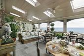 picture of screen-porch  - Porch in mansion with lake view - JPG