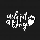 Dog Adoption Hand Written Lettering. Brush Lettering Quote About The Dog Adopt A Dog With Heart-shap poster