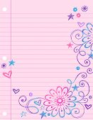 Hand-Drawn Sketchy Doodle Flowers and Swirls on Lined Notebook Paper Vector