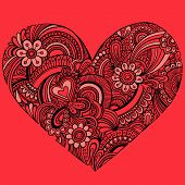 Hand-Drawn Intricate Henna Tattoo Paisley Heart Doodle Vector Illustration on Red Background