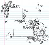 Hand-Drawn Borders with Stars and Swirls Sketchy Notebook Doodles Vector Illustration on Lined Sketc
