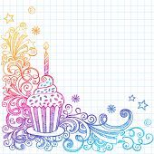 Hand-Drawn Sketchy Ornate Cupcake Doodle Page Border- Notebook Doodles on Grid (Graph) Paper Backgro
