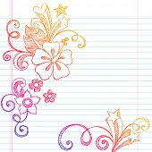 Hand-Drawn Summer Vacation Hibiscus Flower and Swirls Tropical Sketchy Notebook Doodles Vector Illus