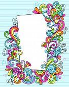 Hand-Drawn Psychedelic Groovy Notebook Doodle Decorative Rectangle Frame on Blue Lined Sketchbook Pa