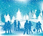 stock photo of winter scene  - Christmas illustration - JPG