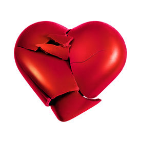 pic of broken heart  - Photo with a broken heart isolated in white background - JPG