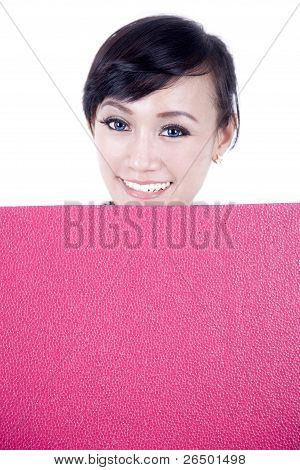 Beautiful Asian Woman With Blank Sign Board