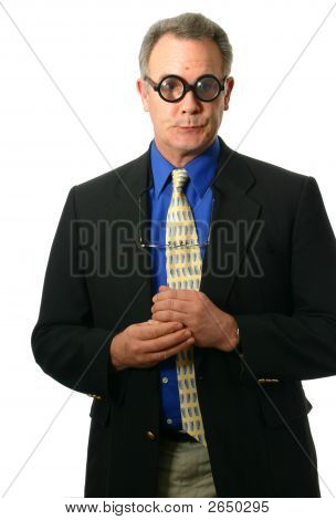 Businessman With Humorous Glasses And Expression