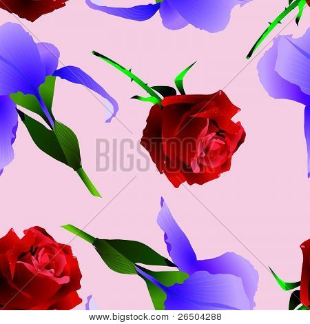 Seamless Texture With A Rose And Iris