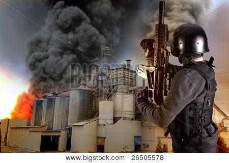 Industry security, armed police wearing bulletproof vests