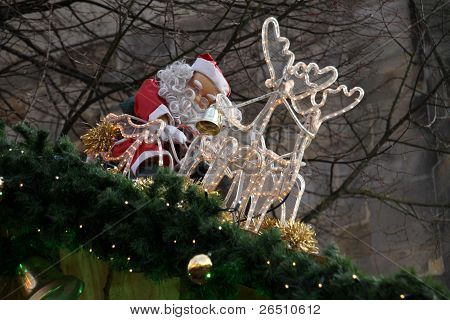 Santa Claus With Reindeer Sleigh