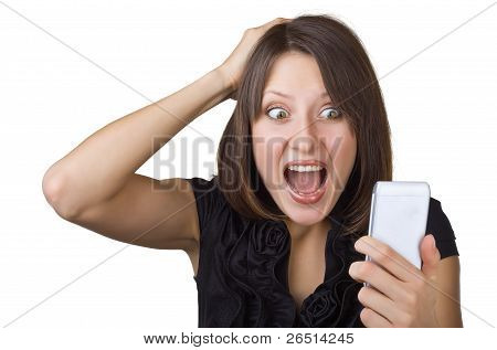 Beautiful Woman Looking At Cell Phone