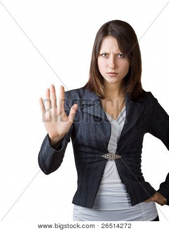 Business Woman Showing A Gesture Stop