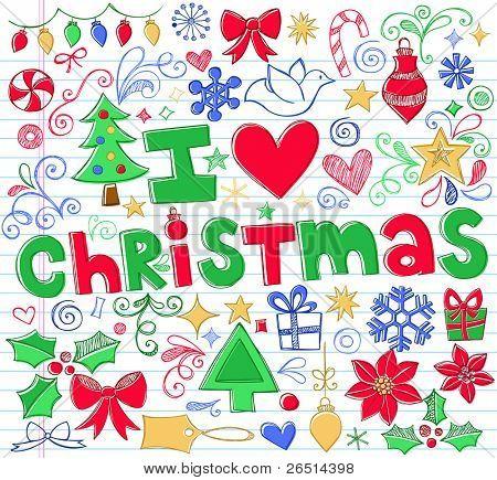 Hand-Drawn I Love Christmas Sketchy Notebook Doodles- Vector Illustration Design Elements on Lined Sketchbook Paper Background