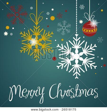 Night Snowflake Scene - Christmas Card - Vector illustration