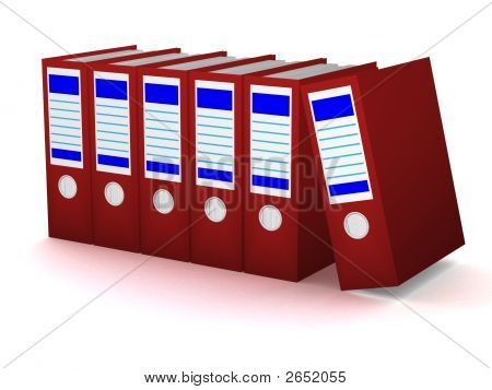 Row Of Red Folders With Documents On A White Background
