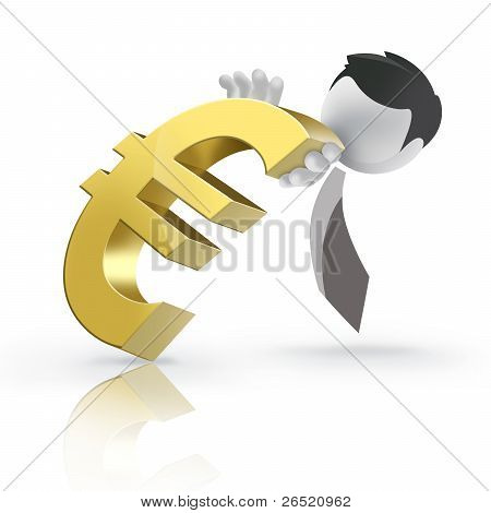 3D man pushing Euro currency sign