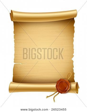 old blank paper script with stamp vector illustration isolated on white background. EPS10. Contains transparent objects used for shadows drawing