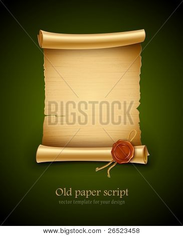 old blank paper script background with stamp vector illustration. EPS10. Contains transparent objects used for shadows drawing