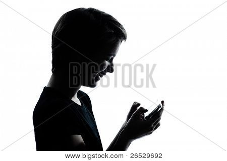 one caucasian young teenager silhouette boy or girl telephone videophone video game  portrait in studio cut out isolated on white background
