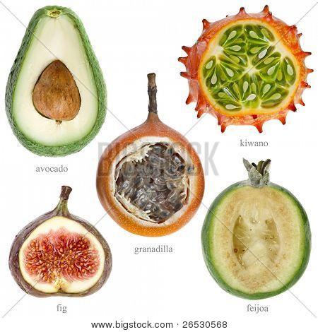 half fresh fruits with names  ( kiwano , avocado, feijoa, granadilla, fig ) isolated on white background