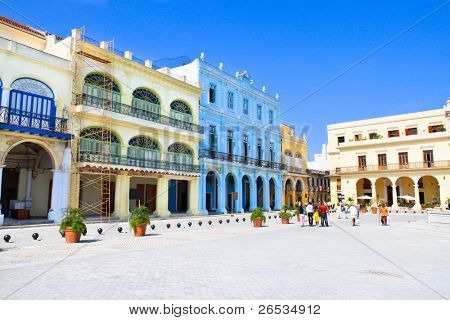 Plaza Vieja with colorful buildings, Havana ,Cuba