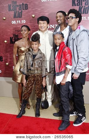 LOS ANGELES - JUNE 7: Jada Pinkett Smith, Jackie Chan, Will Smith, Trey Smith, Willow Smith and Jaden Smith at the premiere of 'The Karate Kid' at the Mann Village Theater on June 7, 2010 in Los Angeles, California