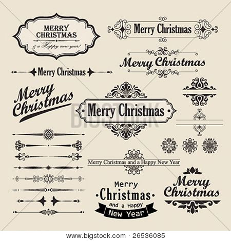 Christmas vintage design elements and letterning.