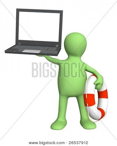 Internet concept - help in the virtual world. Puppet with laptop and lifebuoy. Isolated over white