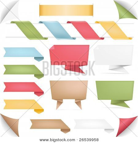 Collection Of Banners Of Origami And Ribbons, Isolated On White Background, Vector Illustration