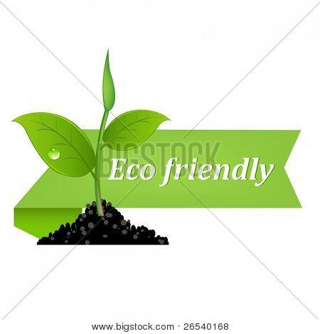 Eco Friendly Banner, Isolated On White Background, Vector Illustration
